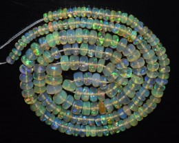 43.75 Ct Natural Ethiopian Welo Opal Beads Play Of Color