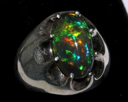 Ethiopian Black Opal Ring 925 Sterling Silver Ring Size US (9 1/2)