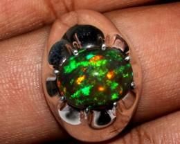Ethiopian Black Opal Ring 925 Sterling Silver Ring Size US (10 3/4)
