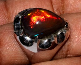 Ethiopian Black Opal Ring 925 Sterling Silver Ring Size US (11 1/4)