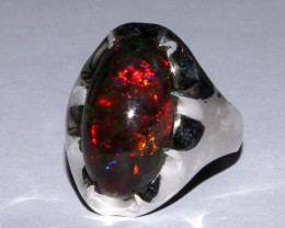 Ethiopian Black Opal Ring 925 Sterling Silver Ring Size US (11)