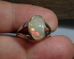 7.5sz Mexican Fire  Opal ring  silver  .925 Authentic Limited Edition