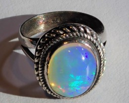 6SZ BRILANT  MEXICAN FIRE OPAL INTENSE EXQUISITE NATURAL OPAL STERLING RING