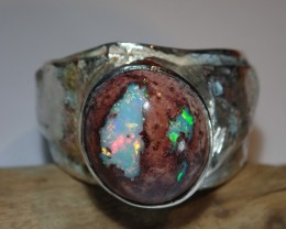 Sz13 SOLID CRYSTAL OPAL HIGH QUALITY .925 STERLING FABULOUS RING