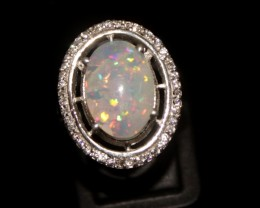 Ethiopian Fire Opal Silver Ring Size US (12) 0104