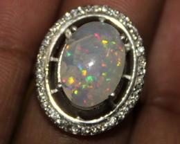 Ethiopian Fire Opal Silver Ring Size US ( 6 ) 0104