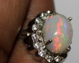 Ethiopian Fire Opal Silver Ring Size US (12) 0107
