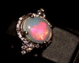 Ethiopian Fire Opal Silver Ring Size US (12) 0111