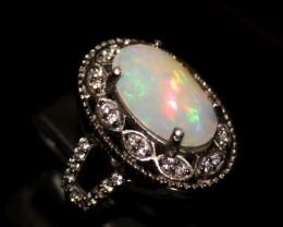 Ethiopian Fire Opal Silver Ring Size US (13) 0113