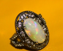 Natural Ethiopian Fire Opal & Cubic Zirconia Silver Ring Size US (13) 0
