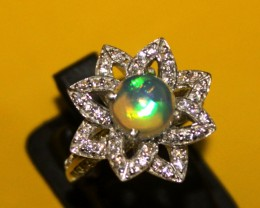Ethiopian Fire Opal Silver Ring Size US (14) 0114