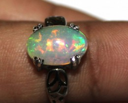 Ethiopian Fire Opal Silver Ring Size US (13) 0115