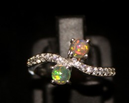 Ethiopian Fire Opal Silver Ring Size US (7) 0119