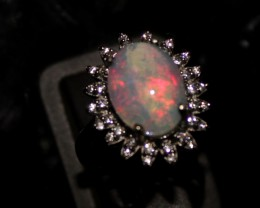 Ethiopian Fire Opal Silver Ring Size US (6.5) 0121