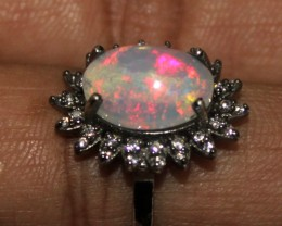 Ethiopian Fire Opal Silver Ring Size US (6.5) 0121