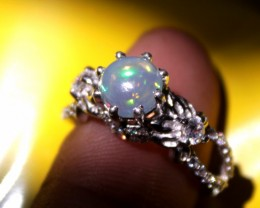 Natural Ethiopian Fire Opal & Zirconia Silver Ring Size US (6) 0123