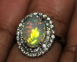 Ethiopian Fire Opal Silver Ring Size US (6.5) 0124