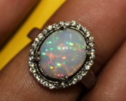 Ethiopian Fire Opal Silver Ring Size US (6) 0126