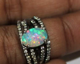 Ethiopian Fire Opal Silver Ring Size US (5.5) 0128