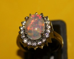Ethiopian Fire Opal Silver Ring Size US (6.5) 0129