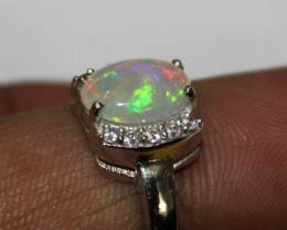 Ethiopian Fire Opal Silver Ring Size US (6) 0130