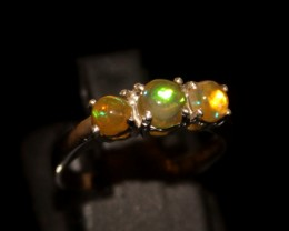 Ethiopian Fire Opal Silver Ring Size US (6) 0131