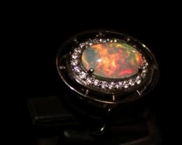 Ethiopian Fire Opal Silver Ring Size US (6.5) 0132