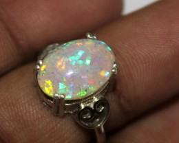 Ethiopian Fire Opal Silver Ring Size US (5.5) 0134