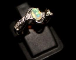 Ethiopian Fire Opal Silver Ring Size US (7) 0135
