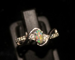 Ethiopian Fire Opal Silver Ring Size US (7) 0136
