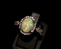 Ethiopian Fire Opal Silver Ring Size US (6) 0137
