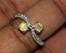 Ethiopian Fire Opal Silver Ring Size US (6.5) 0138
