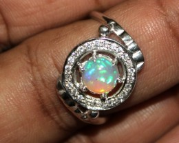Ethiopian Fire Opal Silver Ring Size US (7) 0139