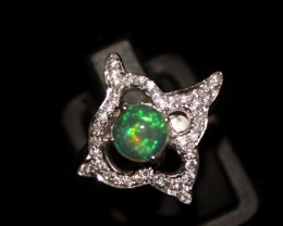 Ethiopian Fire Opal Silver Ring Size US (8) 0141