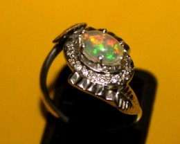 Ethiopian Fire Opal Silver Ring Size US (6.5) 0143
