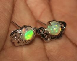 Natural Ethiopian Fire Opal Silver Earrings 0144