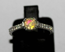 Ethiopian Fire Faceted Opal Silver Ring Size US (6.5) 0148