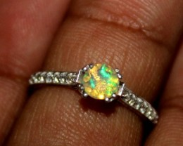 Ethiopian Fire Opal Silver Ring Size US (7) 0150