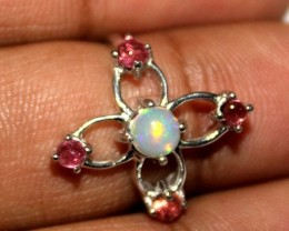 Ethiopian Fire Opal & Tourmaline Silver Ring Size US (6.5) 0153
