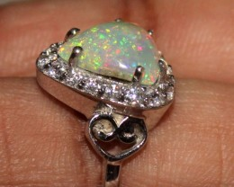Ethiopian Fire Opal Silver Ring Size US (7) 0162
