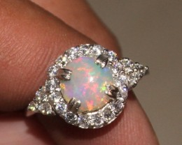 Ethiopian Fire Opal Silver Ring Size US (7) 0163