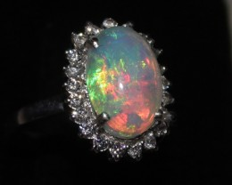 Ethiopian Fire Opal Silver Ring Size US (7) 0165