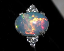 Ethiopian Fire Opal Silver Ring Size US (7) 0166