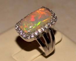 Ethiopian Fire Opal Silver Ring Size US (7) 0168