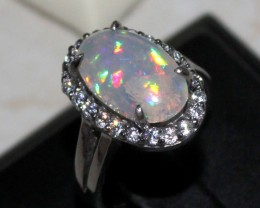 Ethiopian Fire Opal Silver Ring Size US (7) 0170