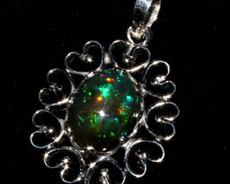 Ethiopian Fire Smoked Opal Silver Pendant 3.3 Cm