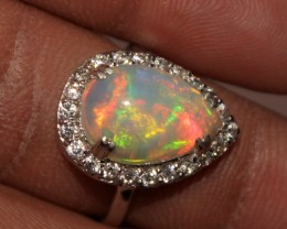 Ethiopian Fire Opal Silver Ring Size US (7) 0175