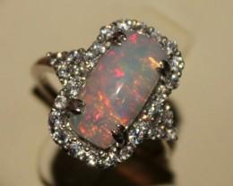 Ethiopian Fire Opal Silver Ring Size US (7) 0178