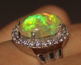 Ethiopian Fire Opal Silver Ring Size US (7) 0182