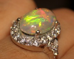 Ethiopian Fire Opal Silver Ring Size US (7) 0183